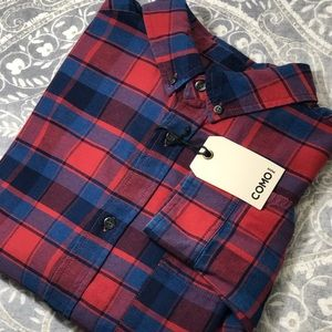 Men's NWT Como Man Long Sleeve Plaid Shirt Size L